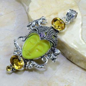 Ct 0081a pendentif pendant citrine doree bouddha jade argent 925 bijoux achat vente