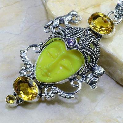 CT-0081 - Magnifique PENDENTIF BOUDDHA JASPE et CITRINE Argent 925 - 117 carats - 23,4 gr