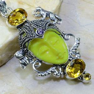 Ct 0081c pendentif pendant citrine doree bouddha jade argent 925 bijoux achat vente