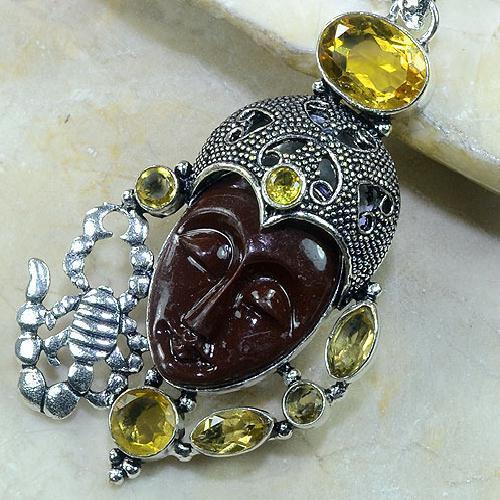 CT-0083 - Magnifique PENDENTIF BOUDDHA JASPE et CITRINE Argent 925 - 95 carats - 19 gr