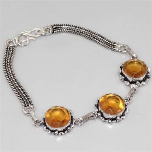 Ct 0085a bracelet citrine doree argent 925 bijoux achat vente