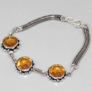 Ct 0085b bracelet citrine doree argent 925 bijoux achat vente