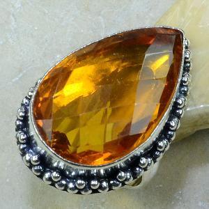 Ct 0086a bague t57 citrine doree argent 925 bijoux achat vente