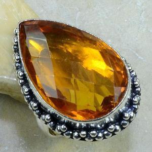 Ct 0086b bague t57 citrine doree argent 925 bijoux achat vente