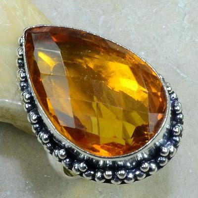 CT-0086 - Superbe BAGUE T 57 cabochon 32 mm CITRINE ORANGE - 75 carats 15 gr