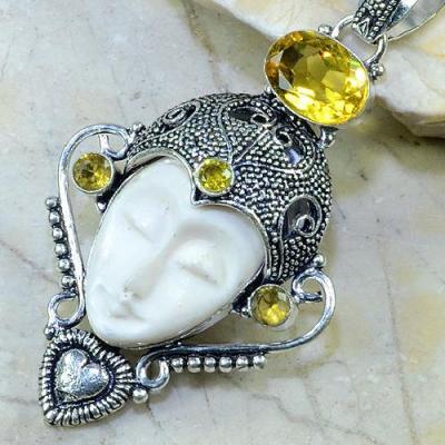 CT-0087 - Magnifique PENDENTIF BOUDDHA JASPE et CITRINE Argent 925 - 100 carats - 20 gr