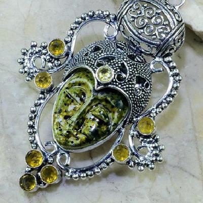 CT-0088 - Magnifique PENDENTIF BOUDDHA JASPE et CITRINE Argent 925 - 110 carats - 22 gr