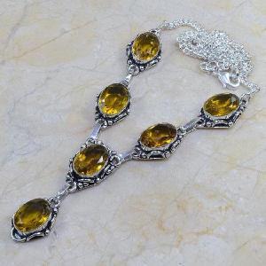 Ct 0090d collier sautoir parure citrine lemon citron argent 925 achat vente bijou