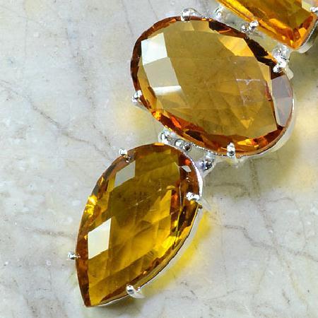 Ct 0091b collier sautoir parure citrine doree argent 925 achat vente bijou