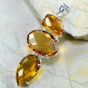 Ct 0091c collier sautoir parure citrine doree argent 925 achat vente bijou