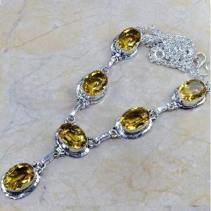 Ct 0092a collier sautoir parure citrine lemon citron argent 925 achat vente bijou