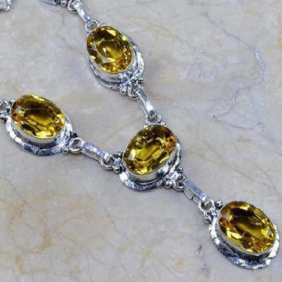 CT-0092 - Joli  COLLIER, PARURE, SAUTOIR avec 6 CITRINES lemon - 132 carats - 26,4 gr
