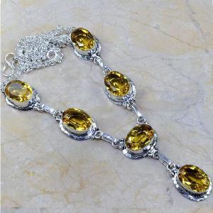 Ct 0092d collier sautoir parure citrine lemon citron argent 925 achat vente bijou