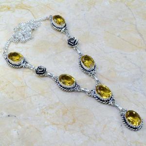 Ct 0093a collier sautoir parure citrine lemon citron argent 925 achat vente bijou