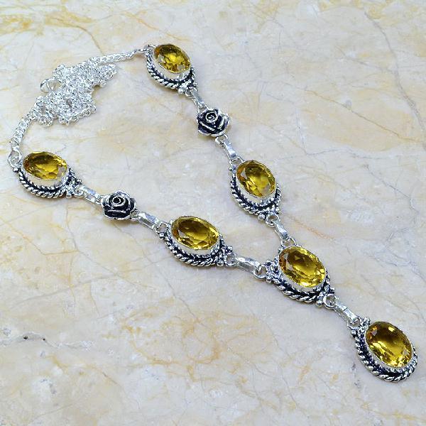 CT-0093 - Joli  COLLIER, PARURE, SAUTOIR avec 6 CITRINES dorées - 160 carats - 32 gr