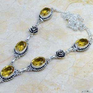 Ct 0093b collier sautoir parure citrine lemon citron argent 925 achat vente bijou