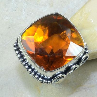 CT-0094 - Superbe BAGUE T58 cabochon 25 mm CITRINE ORANGE - 74 carats 14,8 gr
