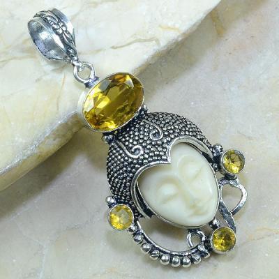 CT-0095 - Magnifique PENDENTIF BOUDDHA JASPE Ivoire et CITRINE Argent 925 - 67 carats - 13,4 gr