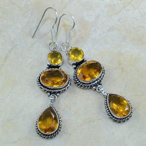 Ct 0096a boucles pendants oreilles citrine doree argent 925 achat vente bijoux