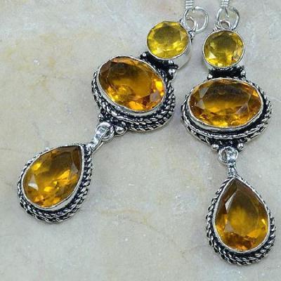 CT-0096 - Jolies  BOUCLES PENDANTS D'OREILLES 70 mm 6 CITRINES dorées - 82 carats - 16,4 gr