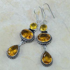 Ct 0096c boucles pendants oreilles citrine doree argent 925 achat vente bijoux