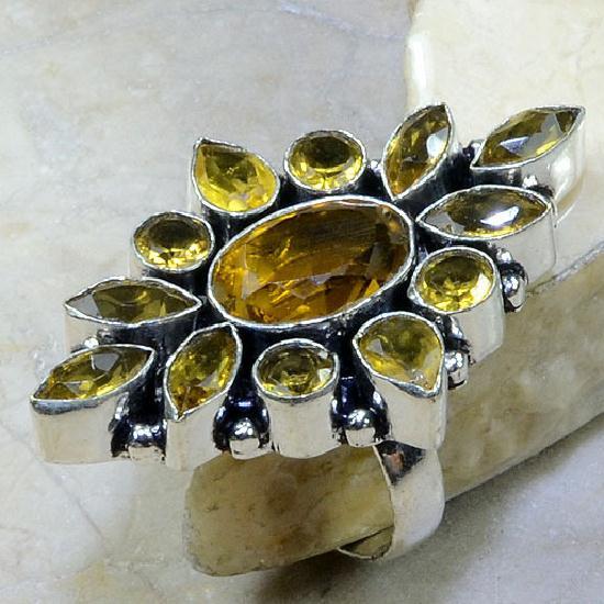 Ct 0101a bague t59 citrine doree lemon argent 925 bijoux achat vente