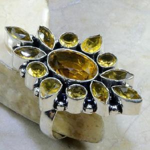 Ct 0101b bague t59 citrine doree lemon argent 925 bijoux achat vente