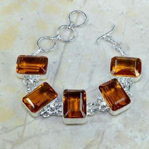 Ct 0102a bracelet citrine orange madere argent 925 bijoux achat vente