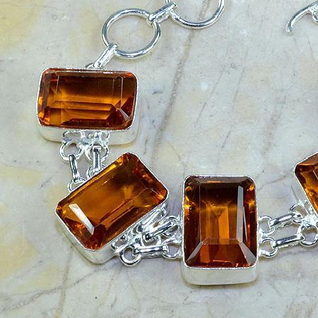 Ct 0102b bracelet citrine orange madere argent 925 bijoux achat vente