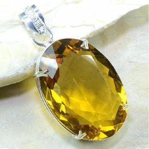 Ct 0106a pendentif pendant pierre taillee citrine doree argent 925 bijoux achat vente