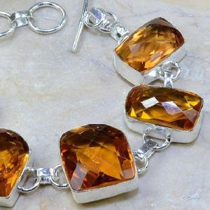 Ct 0108c bracelet citrine orange madere argent 925 bijoux achat vente