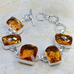 Ct 0108d bracelet citrine orange madere argent 925 bijoux achat vente