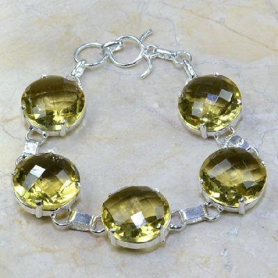 CT-0110 - Joli BRACELET 20 cm en argent 925 avec 5 CITRINES lemon citron pale - 180 carats - 36 gr