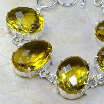 CT-0111 - Joli BRACELET 20 cm en argent 925 avec 5 CITRINES lemon citron pale - 214 carats - 42,8 gr