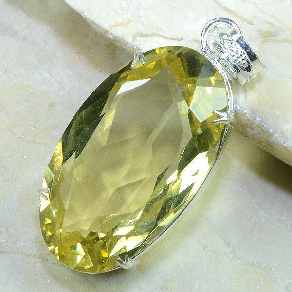 CT-0114 - Enorme PENDENTIF PENDANT 70 mm en CITRINE lemon Or - 187 carats - 37,4 gr