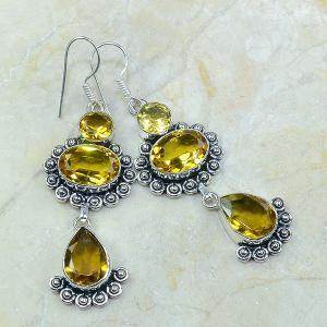 Ct 0115a boucles pendants oreilles citrine doree argent 925 achat vente bijoux
