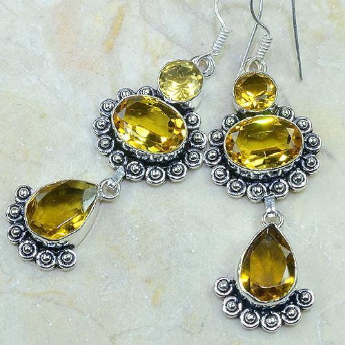 Ct 0115b boucles pendants oreilles citrine doree argent 925 achat vente bijoux