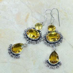 Ct 0115c boucles pendants oreilles citrine doree argent 925 achat vente bijoux