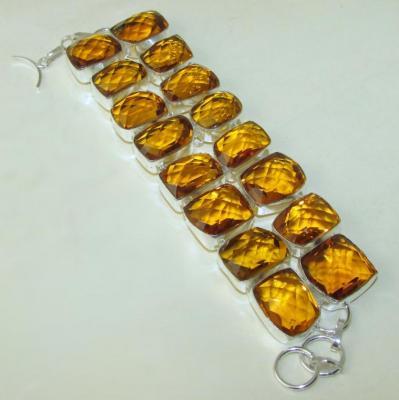 CT-0119 - Exceptionnel BRACELET 20 cm en argent 925 avec 16 CITRINES Madère - 510 carats ! 102 gr