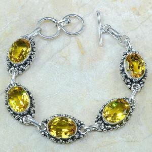 Ct 0121a bracelet citrine citron or doree argent 925 bijoux achat vente