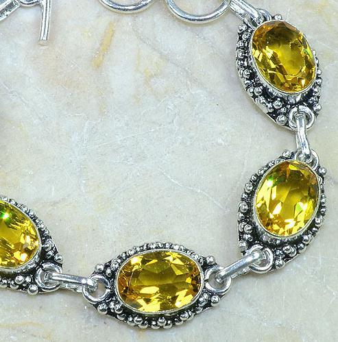 CT-0121 - Joli BRACELET 20 cm en argent 925 avec 5 CITRINES lemon citron dorées - 122 carats - 24,4 gr