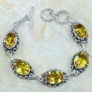 Ct 0121d bracelet citrine citron or doree argent 925 bijoux achat vente