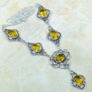 Ct 0124a collier sautoir parure citrine lemon citron argent 925 achat vente bijou