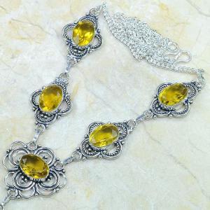 Ct 0124b collier sautoir parure citrine lemon citron argent 925 achat vente bijou