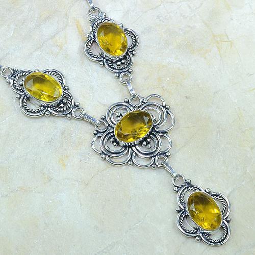 Ct 0124c collier sautoir parure citrine lemon citron argent 925 achat vente bijou