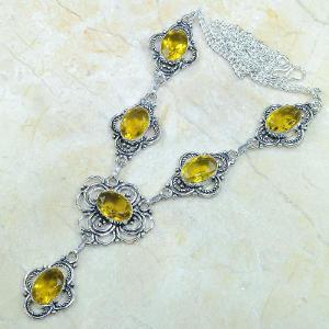 Ct 0124d collier sautoir parure citrine lemon citron argent 925 achat vente bijou