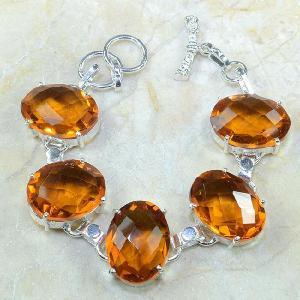 Ct 0129a bracelet citrine orange argent 925 bijoux achat vente