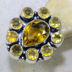 Ct 0130a bague t56 citrine doree lemon argent 925 bijoux achat vente