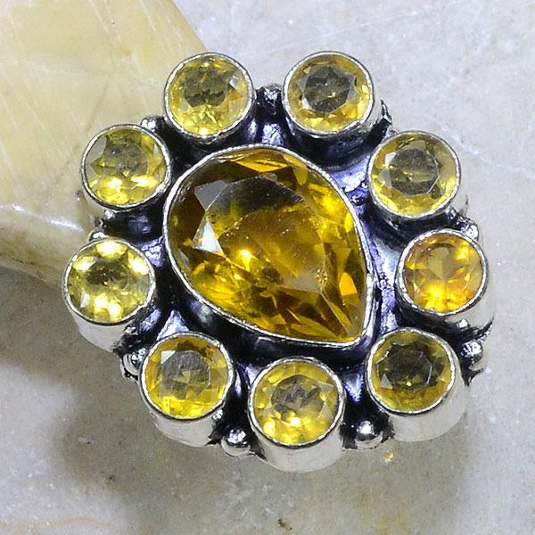 Ct 0130b bague t56 citrine doree lemon argent 925 bijoux achat vente
