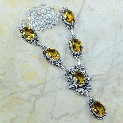 CT-0133 - Joli  COLLIER, PARURE, SAUTOIR avec 6 CITRINES dorées - 162 carats - 32,4 gr